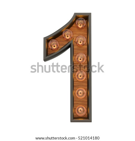 3d rendering of the number 1 with vintage light bulbs, isolated on white