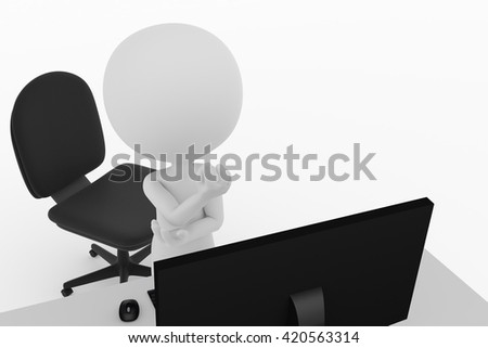 3D rendering of the persons thinking in front of a personal computer