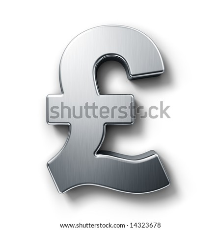 3d rendering of the pound sign in brushed metal on a white isolated background.
