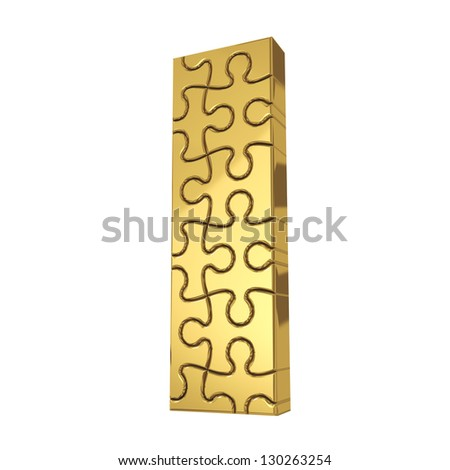 3d rendering of the puzzle letter I in gold metal on a white isolated background. - stock photo
