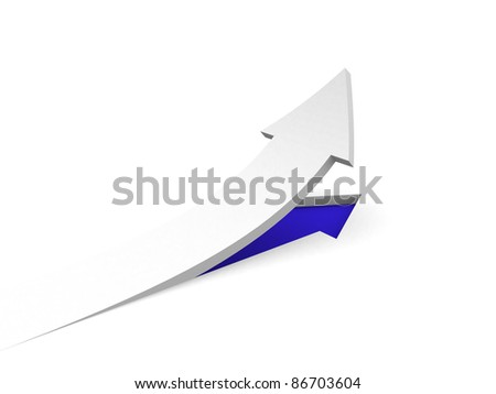 3d rendering of the rising arrow - 3d illustration - stock photo