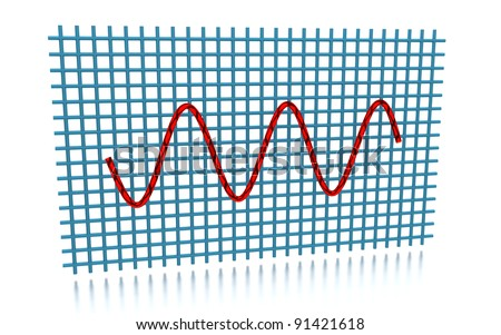 3D rendering of the sine curve - stock photo