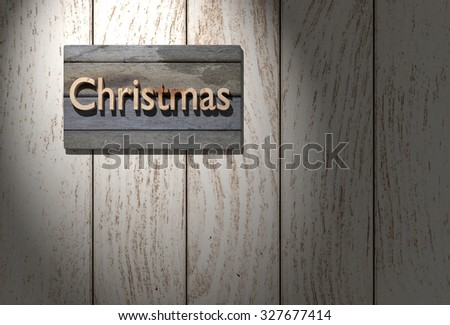 3d rendering of the word christmas in wood
