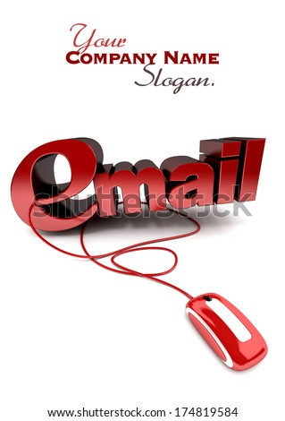 3D rendering of the word e-mail connected to a computer mouse in red over a white background - stock photo