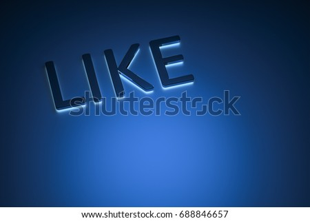 3d rendering of the word like with blue light