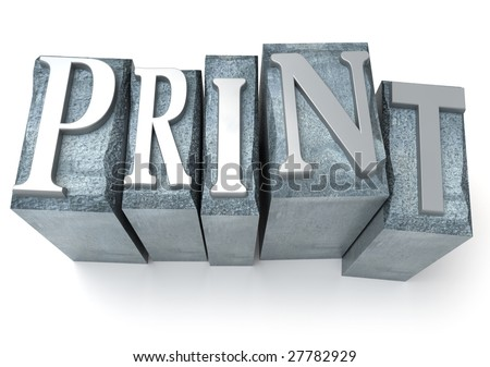 3D rendering of the word print written in print letter cases - stock photo