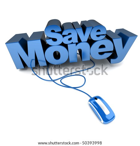 3D rendering of the words save money connected to a computer mouse - stock photo