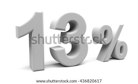 3D rendering of thirteen percents text, with big fonts isolated on white background.