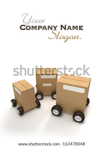 3D rendering of three Brown cardboard boxes with wheels - stock photo