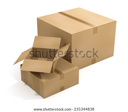 3D rendering of three cardboard shipping boxes on white background. Working Path included. - stock photo