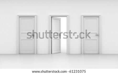 3d rendering of three doors, one open and two closed