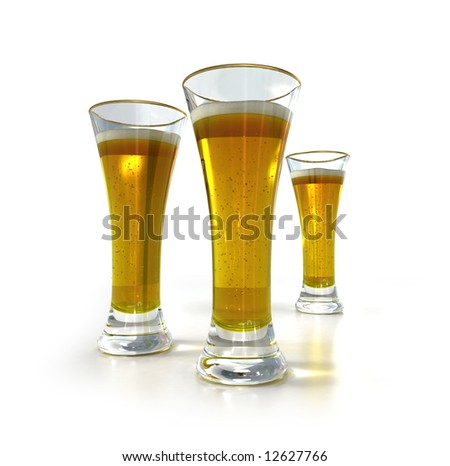 3D-rendering of three pints of beer against a white background