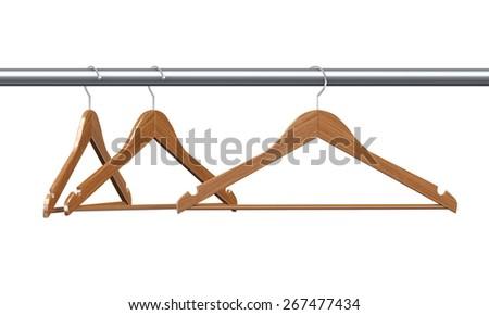 3d rendering of three wooden coat hangers. - stock photo