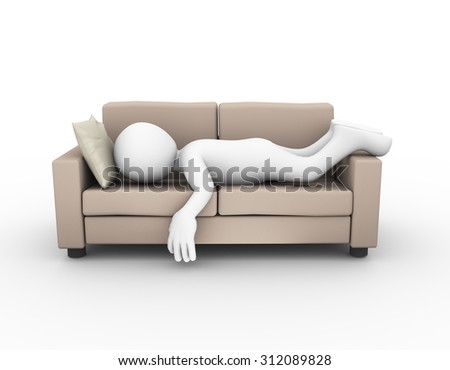 3d rendering of tired and exhausted man sleeping on comfortable sofa.  - stock photo