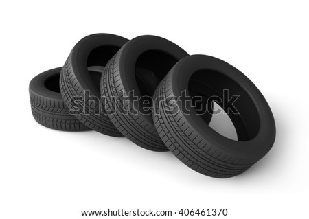 3d rendering of tires on white background - stock photo