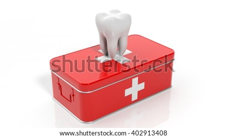 3D rendering of tooth and first aid kit, isolated on white background. - stock photo
