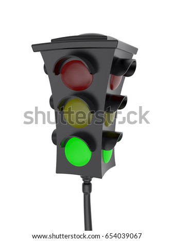 3D rendering of traffic light with a glowing green light Isolated on white background