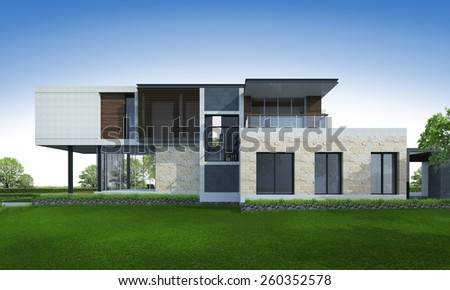 3D rendering of tropical house exterior. - stock photo