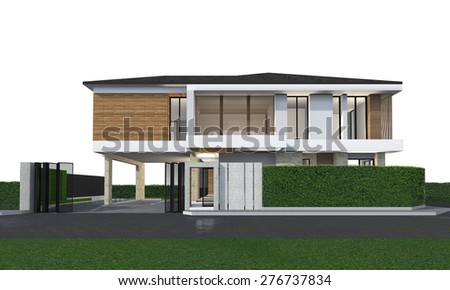 3D rendering of tropical house exterior isolated on white.