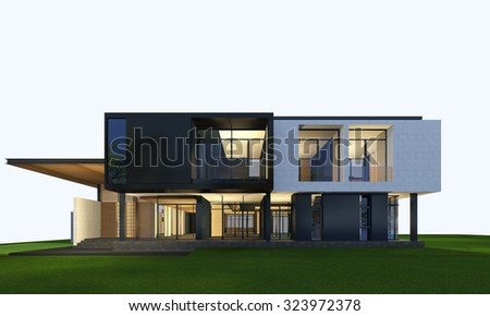 3D rendering of tropical house exterior isolated on white background with clipping path. - stock photo