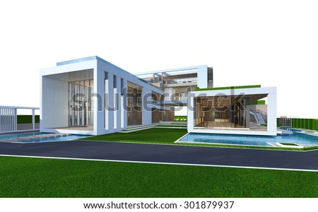 3D rendering of tropical house exterior isolated on white with clipping path.