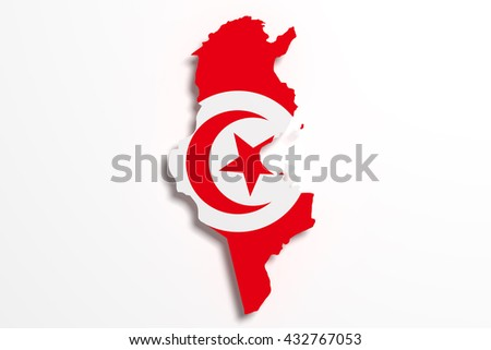 3d rendering of Tunisia map and flag.