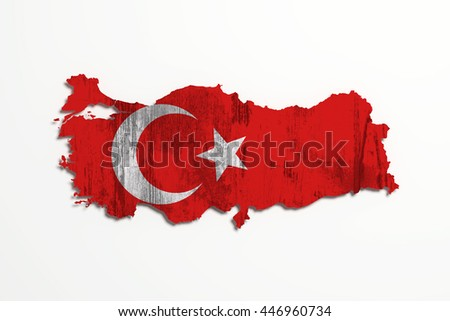 3d rendering of Turkey map and flag on white background.