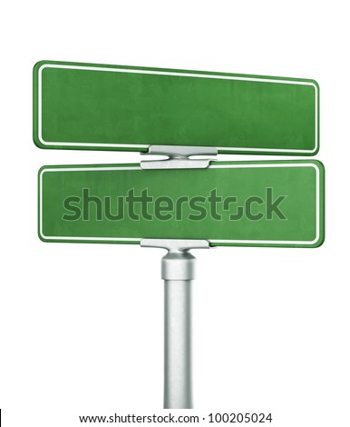 3d rendering of two blank signs stacked ontop of eachother - stock photo