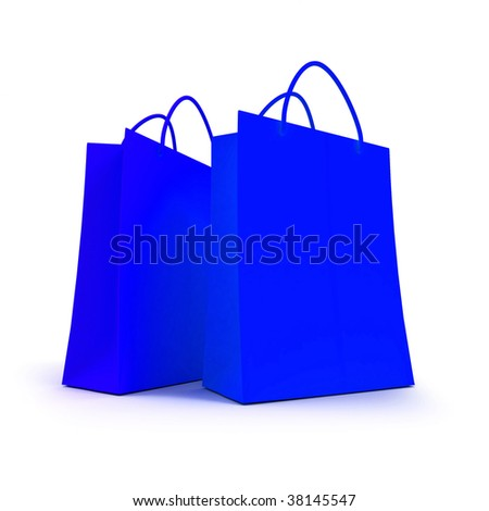 3D rendering of two blue shopping bags against a white background