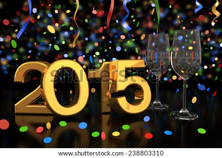3D rendering of two champagne glasses and the numbers of the new year 2015 on glass table with a colorful bokeh Background and confetti, streamer. - stock photo
