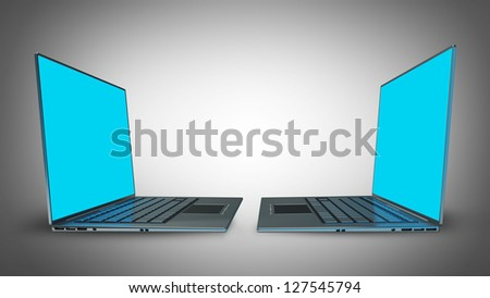 3d rendering of two laptops with blue graphics High resolution - stock photo