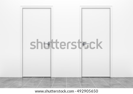 3d rendering of two typical white doors