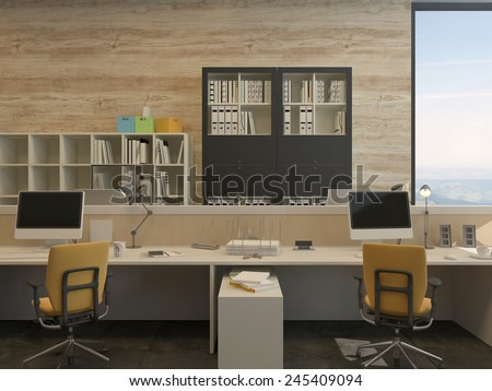 3D Rendering of Two Work Stations in Modern Office with Yellow Chairs and Flat Screen Monitors - stock photo
