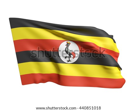 3d rendering of Uganda flag waving on a white background