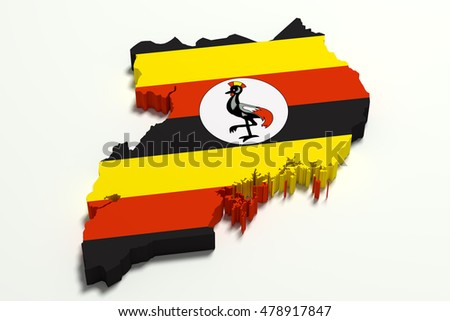 3d rendering of Uganda map and flag.