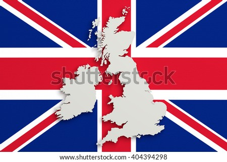 3d rendering of United Kingdom map and flag on background. - stock photo
