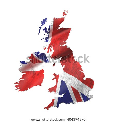 3d rendering of United Kingdom map and flag on white background.
