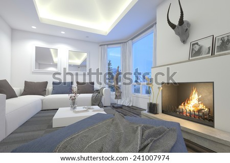 3D Rendering of Upmarket living room interior with a blazing fire, recessed overhead lighting, modular comfortable sofas and a trophy mounted on the chimney alongside a glass patio door - stock photo