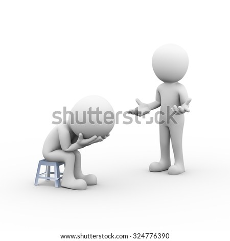 3d rendering of upset sad frustrated depressed man with person expressing no idea.  - stock photo