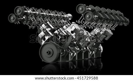 3D Rendering of V12 Engine - stock photo