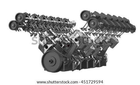 3D Rendering of V12 Engine Isolated on White - stock photo