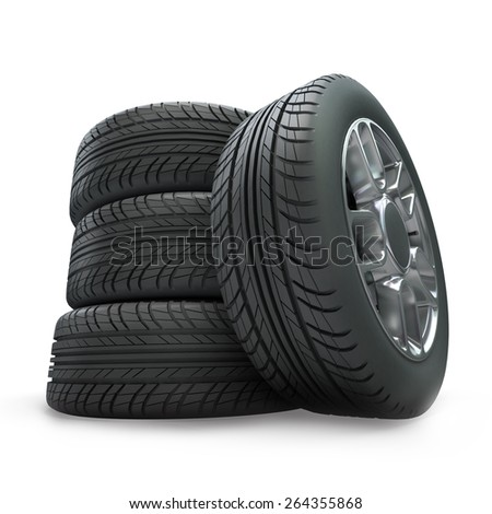 3D rendering of vehicle wheels on a white background - stock photo