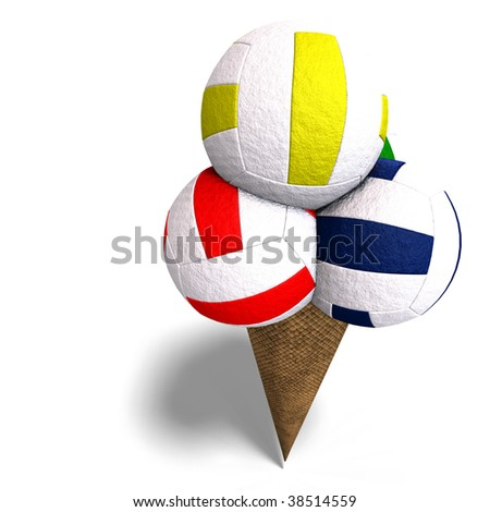 3D rendering of volleyballs in an ice cream cone with clipping path and shadow over white