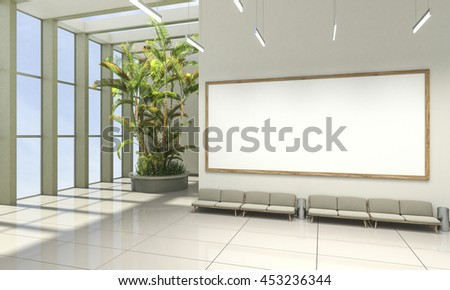 3D rendering of waiting room with vivid colors