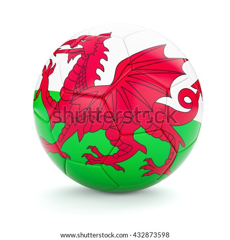 3d rendering of Wales soccer football ball with Welsh flag isolated on white background - stock photo