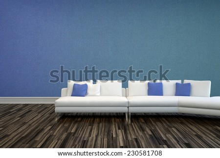 3D Rendering of White and Blue Pillows on White Couch at Elegant Lounge Area with Plain Blue Violet Wall and Wooden Flooring Design. - stock photo
