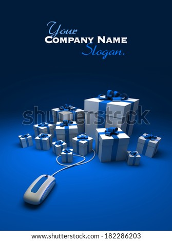 3D rendering of white and blue presents connected to a computer mouse against a blue background