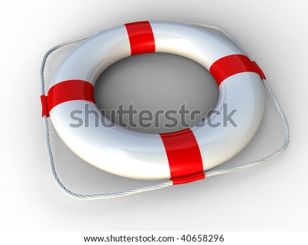 3d rendering of white and red  life belt