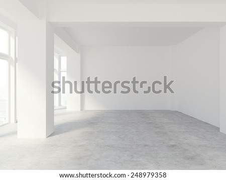 3D rendering of white blank wall - stock photo