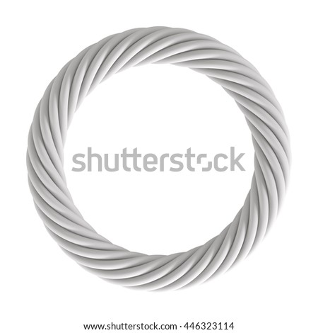 3D Rendering of white color Circle Rope, isolated object on white background. - stock photo